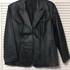 Plus Size Black Leather Blazer